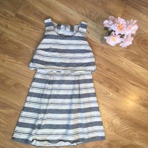 Loft 8 Mini Striped Dress with Open Back